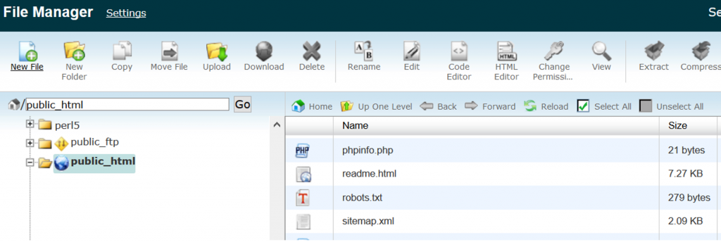 C-panel filemanager with sitemap